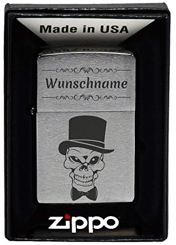 geschenke-fabrik.de Feuerzeug mit Gravur - personalisiert optional mit Geschenkset - Geschenk für Männer, Papa oder Freund - Motiv Totenkopf