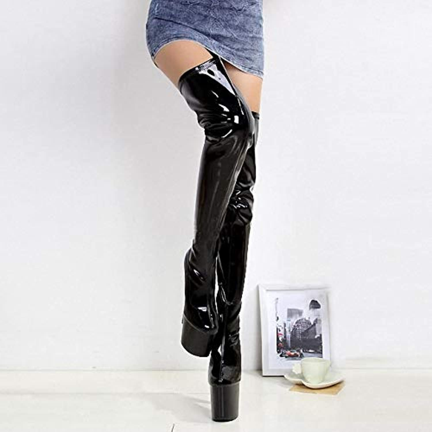 Women's Sexy Boots Patent Leather Spring Summer Fall Fashion Boots Club shoes Boots Stiletto Heel Platform Over The Knee Boots Party & Evening,A,US11 EU43 UK9 CN44