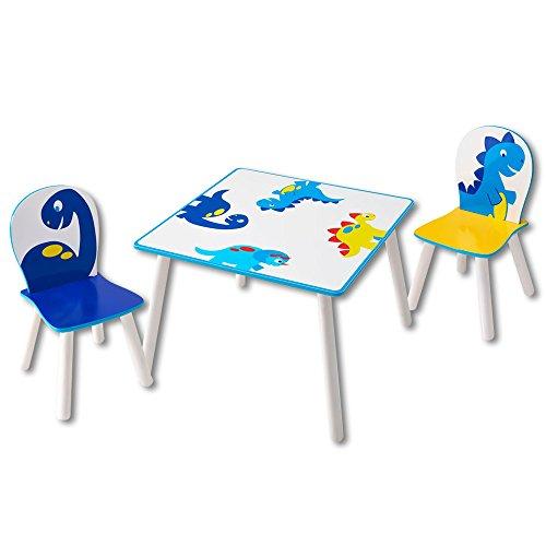 Sitzgruppe Kinder Flowers oder Dinosaurier - Kindersitzgruppe - 1 Tisch und 2 Stühle (Dinosaurier)