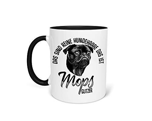 Tasse Kaffeetasse mit Mops Pug Hund Lustiger Spruch - Beidseitiger Druck - Frauchen - Herrchen