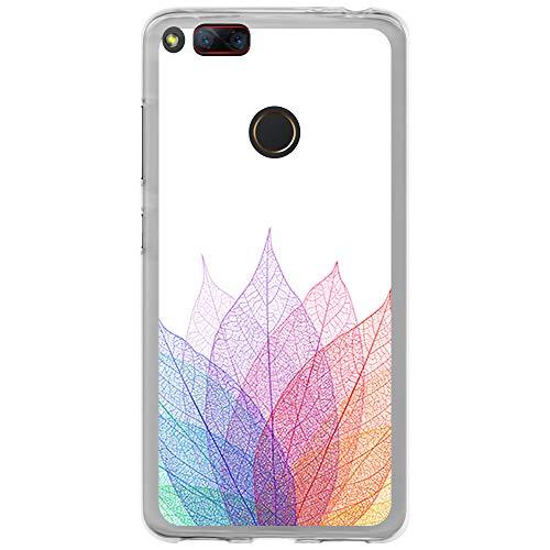 BJJ SHOP Transparent Hülle für [ ZTE Nubia Z17 Mini ], Klar Flexible Silikonhülle, Design: Mandala Multicolor Blätter