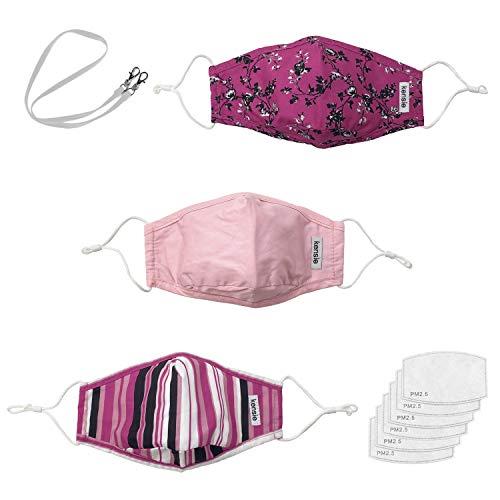 kensie Juego de 3 máscaras faciales para mujer y 6 filtros de aire y cordón, rosado, (Pink Patterns), Adult tamaño