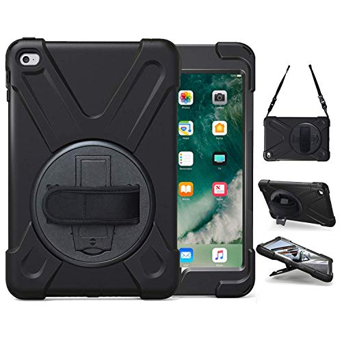TSQ iPad Mini 4 Case, iPad Mini 5 Rugged Case, TSQ Shockproof Protective Heavy Duty Case with Stand, Hand Handle Grip, Shoulder Strap for Kids Girl A2133/ A2124/ A2125/ A2126/ A1538/ A1550 Black