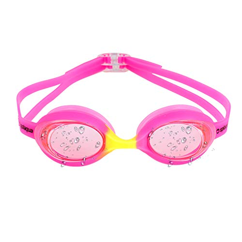 Splaqua Kids Swim Goggles - No Leak, UV Protection & Anti-Fog Lenses with Adjustable Strap, Swimming Goggles for Youth, Kids, Children | with Bonus Ear Plugs (Pink/Yellow)
