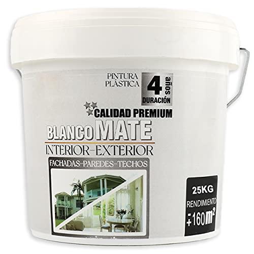 Pintura Plástica Premium Blanca Mate Interior-Exterior 15L/25Kg Rendimiento 160㎡