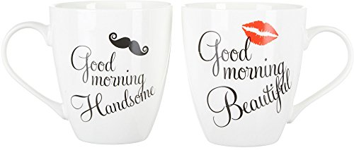 Pfaltzgraff Good Morning His & Hers Mugs Set of 2,Beautiful/Handsome - 5147320