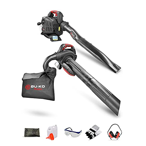 BU-KO 3-in-1 Leaf Blower and Vacuum with Shredder, 2-Stroke 26CC Petrol Engine, Anti-Vibration Ergonomic Shoulder Harness, Lightweight and Portable, 40L Collection Bag