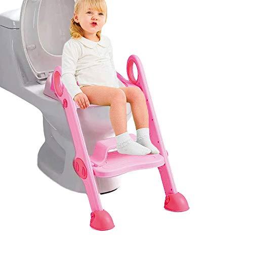 Einstellbare Baby Potty Training Seat mit Stufen WC Training Leiter Kleinkind Leiter WC Sitz Schritte für Baby/Kinder 2-8 Jahre alt (pink)