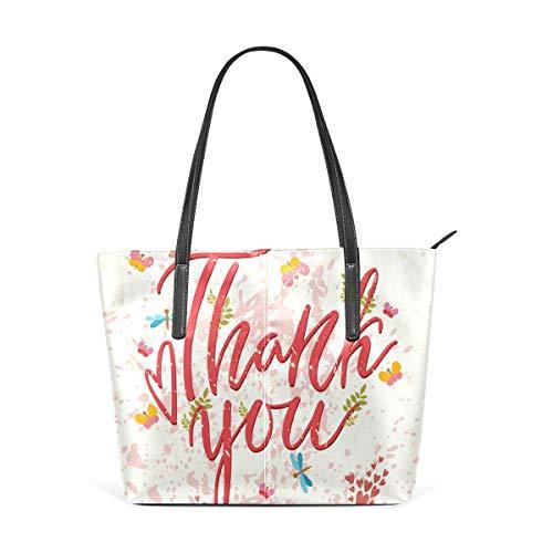 COOSUN Dankeschön-Grußkarte PU Leder Schultertasche Geldbörse und Handtaschen Tote Bag für Frauen