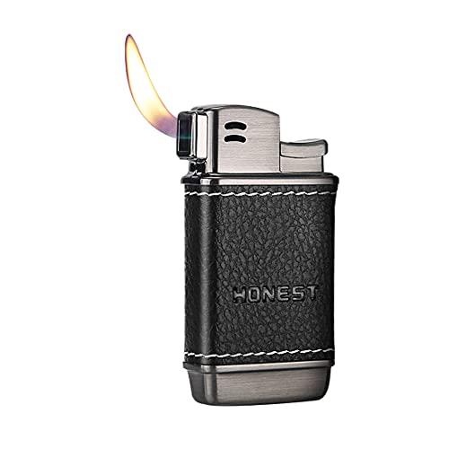 Soft Flame Pipe Lighter Leather Refillable Butane Gas Adjustable Flame Size for Cigar Cigarette Men Gift,Black
