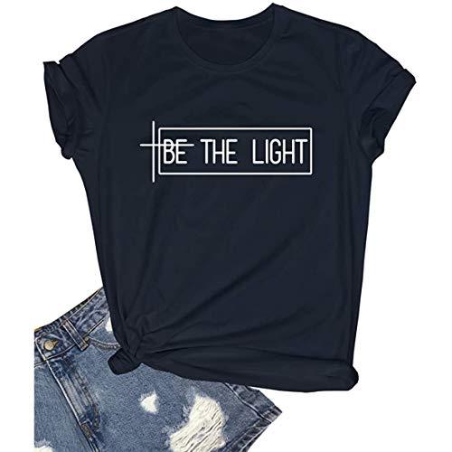 Camisa de Navidad para mujer, adolescente, linda, cómoda, manga corta, divertida, gráfica de verano, color negro