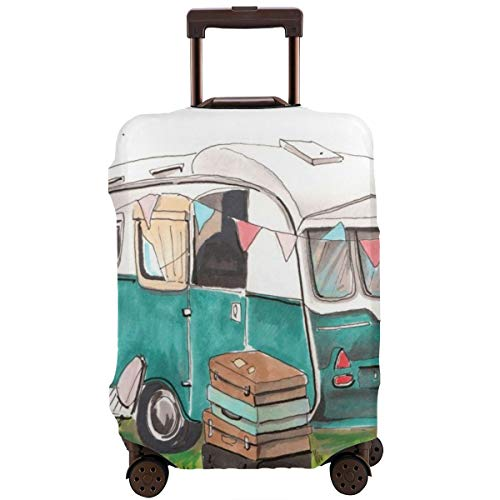 Travel Suitcase Protector,Summer Travel Trailer On Camping Parking and Old School Hipster Tourist On Nature Easel Table Chair Suitcases On Grass,Suitcase Cover Washable Luggage Cover XL