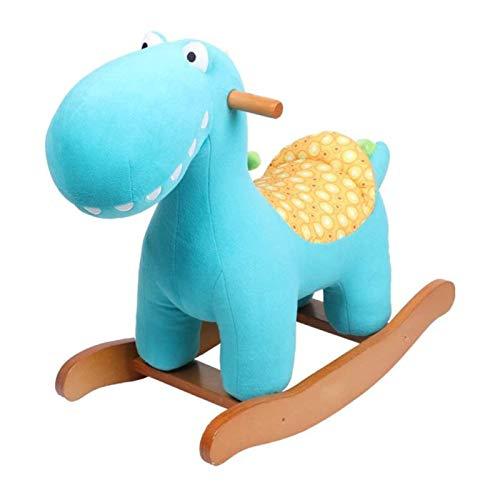 JJSFJH Rocker Ride-ons Stuhl Baby Spielzeug Rocking Horse Holz Bule Dinosaurier Plüsch für 1-4 Jahre Jungen und Mädchen Kinder Kindersitz Tiersitz Weiche Schaukelstuhl Rocker
