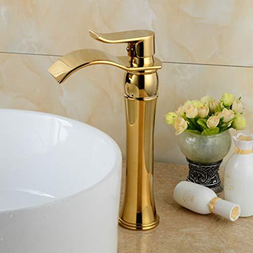 Grifos de baño de oro Grifo de baño de cascada Grifo de oro Grifo monomando de lavabo de una manija