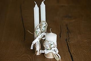 candele di nozze rustiche, set di 3, tela e pizzo, moderno ed elegante, un dettaglio essenziale del matrimonio