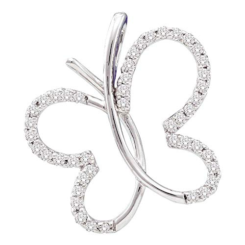 Colgante redondo de oro blanco de 14 quilates para mujer con diseño de mariposa de diamante, 1/4 cttw