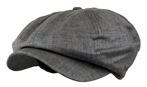 Men's Linen 8 Panel Applejack Gatsby Newsboy Ivy Hat (Grey)