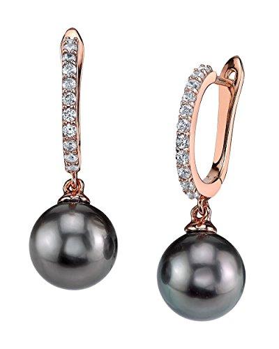 THE PEARL SOURCE 8-9mm Genuine Black Tahitian South Sea Cultured Pearl Zara Earrings for Women