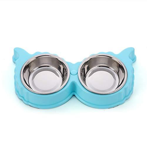 Edelstahl Doppel-Haustier-Schüsseln rutschfeste trennbare Katze-Hundeschüsseln Katze-Hundefutter-Schüsseln Candy Farbe Doppel abnehmbare Haustier-Schüsseln ( Color : Blue , Größe : 11.73*1.57inchs )