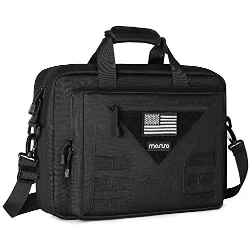 MOSISO Tactical Laptop Messenger Shoulder Bag, 15-16 inch Multifunctional Adjustable Large Tactical Notebook Briefcase Carrying Sleeve Case Handbags Pockets with USA Flag Patch, Black