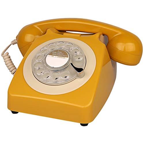 Interfono telefónico antiguo de cuerda. Diseño retro con cable - Teléfono fijo - Clásico Retro Vintage Rotary Dial Estilo Mesa de escritorio Oficina en casa Bobina Teléfono ( Color : Golden Brown )