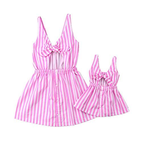 Loalirando Madre e hija - Vestidos de verano a rayas rosas - Vestidos de mujer sin mangas - Vestido de princesa para niña - Vestido elegante
