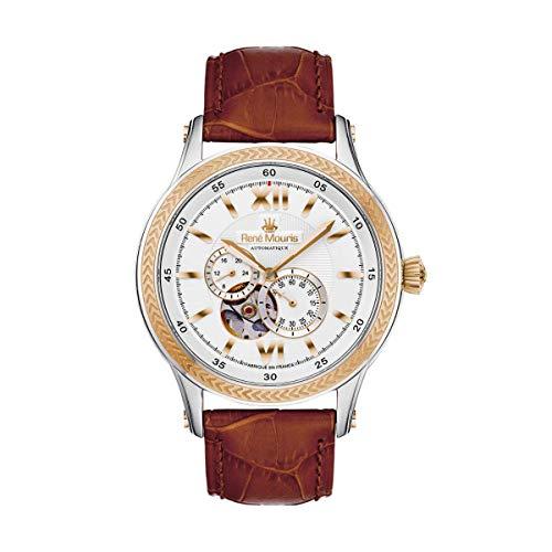 René Mouris Klassischer Stil 44mm Herren Automatikuhr| Corona | Braun Farbe Echtleder-Uhrenband