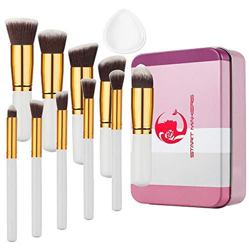 Gouden buis wit handvat cosmetische borstel transparante silicagel poeder ijzer doos cosmetisch gereedschap