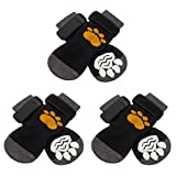 SCIROKKO 3 Pairs Anti-Slip Dog Socks with Golden Paw Pattern - Pet Adjustable...