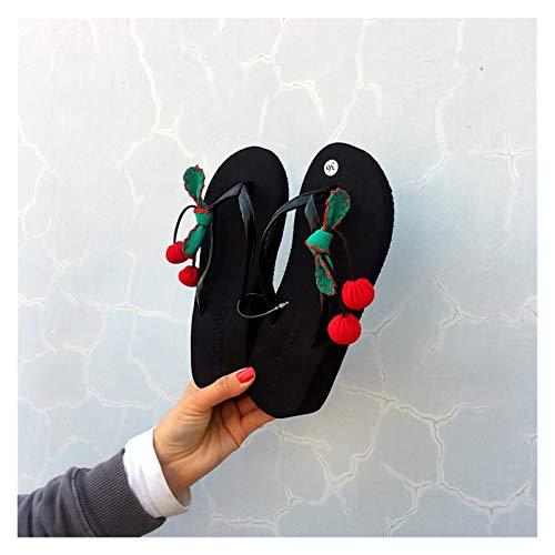 `Star Empty Pantuflas de Mujer Zapatillas de Vacaciones Junto al mar Cherry Flip Flops Pendiente Dulce con Plano Antideslizante con Pantalones de Playa Gruesos Zapatillas de Playa Sandalias Mujeres