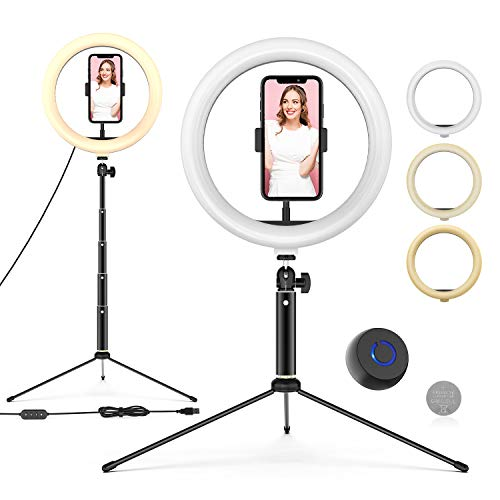 Ringleuchte mit Stativ, 10'' LED Selfie Ringlicht Stativ mit Fernbedienung, Handyhalter und 3 Farbe und 10 Helligkeitsstufen, Live Licht für Make-up,...