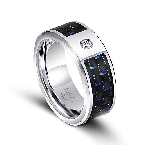 Smart Ring - Anillo inteligente digital para hombre, acero de titanio y fibra de carbono, color azul