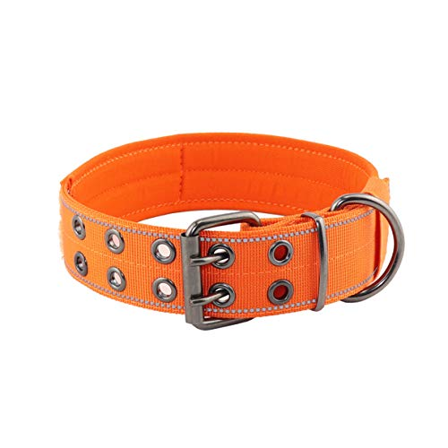 Yunleparks Highly Reflective Dog Collar Tactical Dog Collar with Comfortable Soft Lining Padded and Heavy Duty Metal Buckle for Small Medium and Large Dogs,1.5' Width (M, Orange)