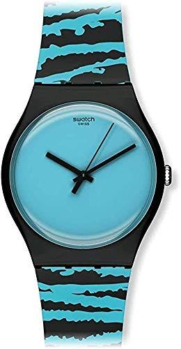 Swatch Unisex Analog Quarz Uhr mit Kautschuk Armband SUOZ143