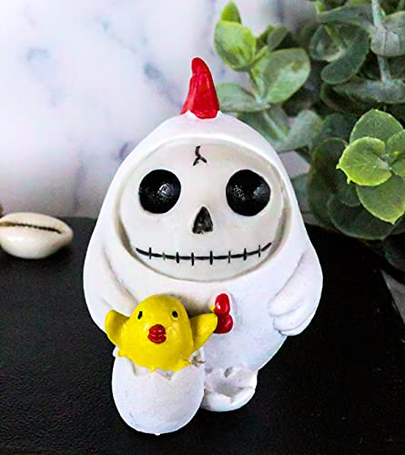 Ebros Furry Bones The White Hen Chicken Nugget Costumed Skeleton Figurine Small Furrybones Chicken with Hatching Chick Collectible Sculpture