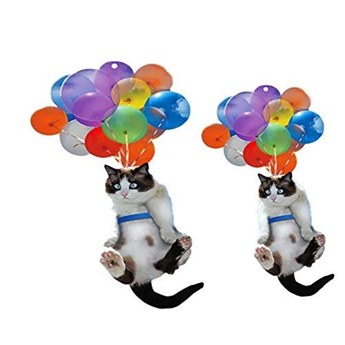 decwang 1/2pc Cat Car Cojado Ornamento,Gato y Globo Coche Colgante Adorno,Gato Amante Cat Coche Colgante Adorno con Globo Colorido Accesorios para Automóviles Adorable Bolsa Colgante Juguete Lindo