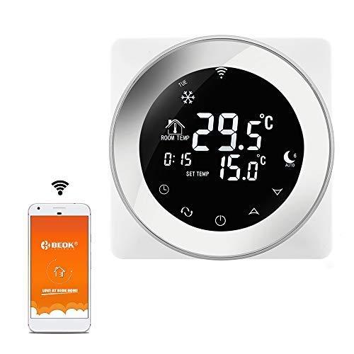 Beok TGR87WIFI-EP Termostati ambiente programmabili per riscaldamento a pavimento elettrico, Funziona con Google Home e Amazon Alexa, touchscreen con sensore a pavimento