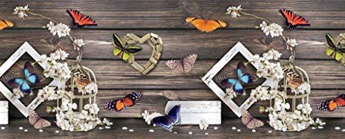 Tappeto Cucina Antiscivolo Lavabile in Vinile | Made in Italy | Passatoia Antimacchia in PVC Interni ed Esterni Stampa Digitale Farfalle e Fiori | Tappeti Runner Lungo in Gomma ( 52 x 250 cm )