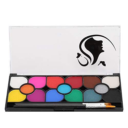 Pigmento de pintura corporal facial de 15 colores con pincel, Soluble en agua Fiesta de Halloween Disfraz Conjunto de maquillaje de tatuaje corporal, Aceite de pintura corporal facial