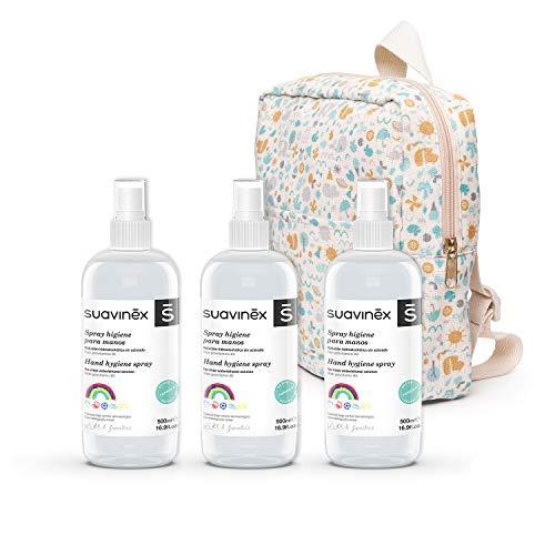 Suavinex, Pack 3x Spray Higienizante Para Niños y Mochila de Regalo. Solución hidroalcohólica. 70% Alcohol. Sin aclarado, 1500ml. 4 productos