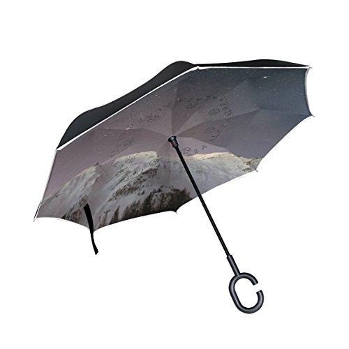 MNSRUU Doppelschichtiger umgekehrter Regenschirm Schnee Berge unter den Sternen, faltbar, Winddicht, UV-Schutz, kopfüber für Auto Regen mit C-förmigem Griff