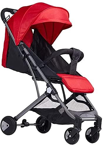 Cochecito de bebé compacto liviano de cochecito para niños pequeños, cochecito de bebé plegable, sistema de viaje con canasta para bebés. (Color : Red)