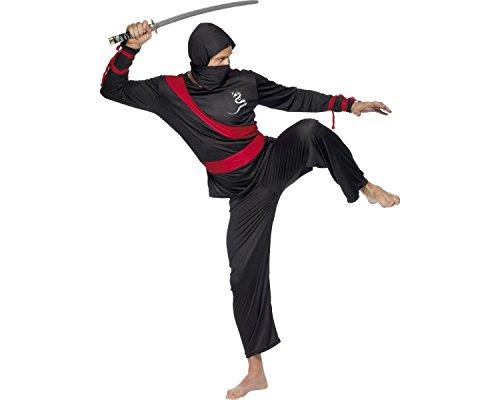 Smiffys, Heren Ninja Krieger 20386 Costume de Ninja Haut Pantalon, écharpe et Capuche Taille M