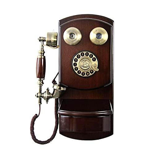 QIU Rotary Dial Home and Office Telephone Retro Telephone Home,Rotary Dial Telephone Classic Brown Retro Old Fashioned Landline Phones Wall Mounted with Classic Metal Bell Handfree and Redial