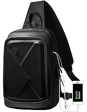 ボディバッグ ショルダーバッグメンズ 斜めがけ 大容量 軽量 防水 iPad収納可能 イヤホン穴付き USBポート付き 人気 斜め掛けバッグ 自転車 通勤通学 旅行 (ブラック)