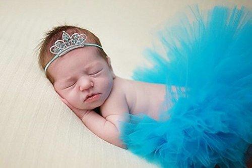 ZUMUii Butterme Bebé Recién Nacido Traje De Fiesta para Bebés Lindo Malla De Hilo Princesa Falda Flor Diadema Conjunto De Accesorios De Fotografía(Azul Oscuro)