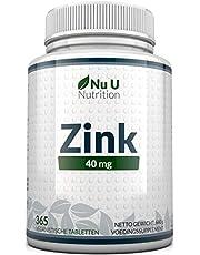 Zink 40 mg - 365 Zinktabletten niet Capsules (12 Manden Voorraad) - Zinkgluconaat met Hoge Sterkte Biedt 40 mg Elementair Zink - Veganistisch - Gemaakt in het VK door Nu U Nutrition