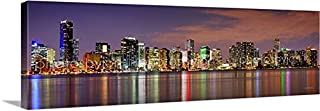 CANVAS Miami Skyline DUSK 16 inches x 46 inches COLOR South City Downtown Photographic Panorama Print Photo Picture