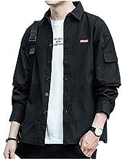 シャツ メンズ 長袖 オックスフォード シャツ メンズ 無地 春 夏 秋 大きいサイズ ファッション シャツ カジュアルシャ 灰 XL