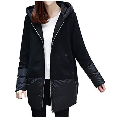 URIBAKE Coat for Women, Winter Casual Long Sleeve Outwear Patchwork Hoodie Tops Black